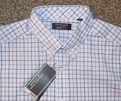 Roundtree Mens SS Lt Blue Plaid Travel Shirt 2X B 3X BNWT