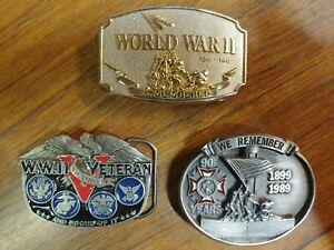 VINTAGE American Veterans, WWII Belt Buckle Lot of 3