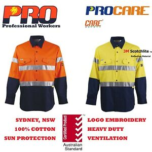 1-pack-Hi-Vis-Work-Shirt-with-vent-cotton-drill-CR3M-reflective-Tape-long-sleeve