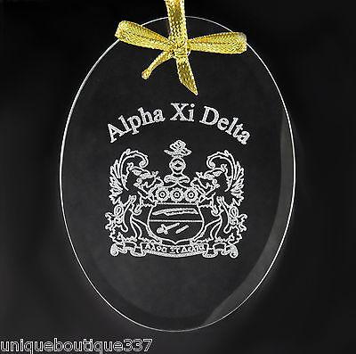 Alpha Xi Delta, ΑΞΔ, Crystal Beveled Oval Name & Crest  Ornament/Sun Catcher
