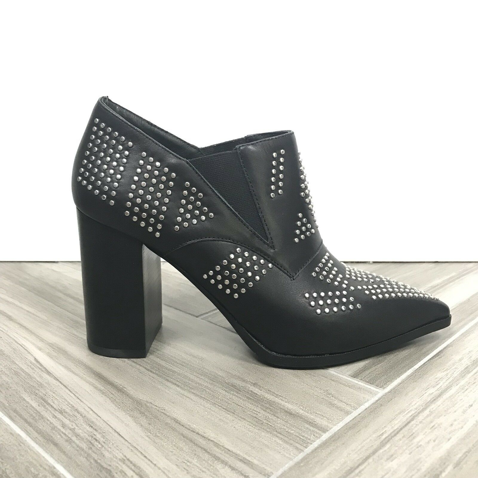 See by Chloe Carnaby Shine Black Studded Bootie Boot Sz 7.5 Pointed Block Heel