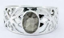 NATURAL SMOKEY QUARTZ GEMSTONE RING SOLID 925 SILVER JEWELRY SIZE 6.5 IR14365