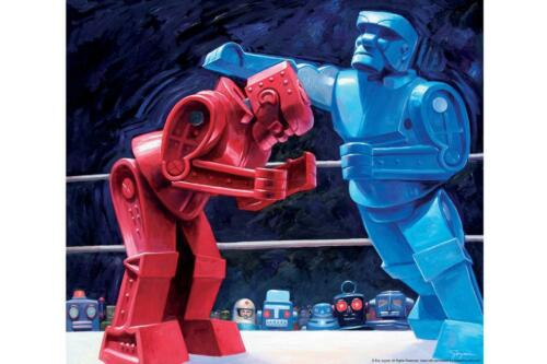 Robots Swingtown Boxing by Eric Joyner Art Print Poster 24x36 inch