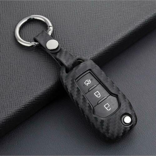 For Ford Carbon Fiber Smart Car Key Case Cover Fob Holder Accessories