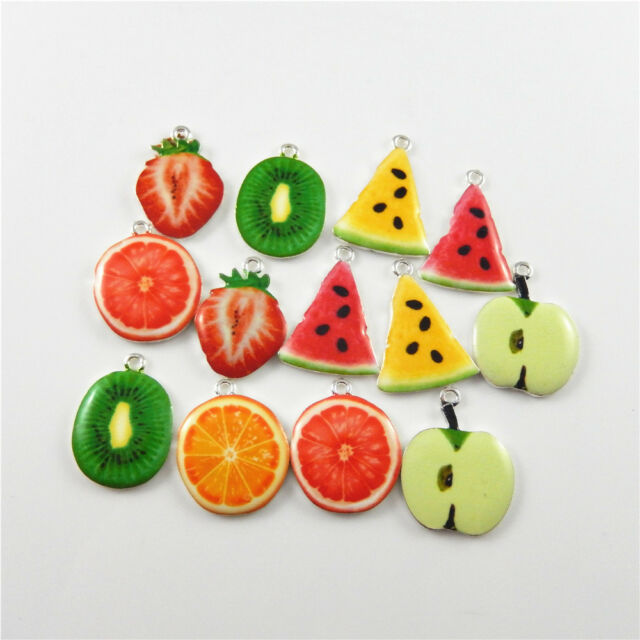 Zinc Alloy Pendant Charms Red/&Green Tone Strawberry Shaped Jewelry Findings 9pcs