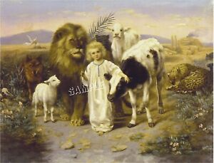 """PEACE ANGEL"" Lion LAMB Sheep COW Wolf CANVAS Giclee Art Print - LARGE 19"" x 13"""