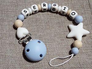 Chupetero-Personalizzato-Scegli-il-Colore-e-Nome-Regalo-Borsa-in-Iuta-Blu