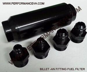 40 Micron BLACK FUEL FILTER INLINE -6AN -8AN 6 8 AN UNIVERSAL HIGH