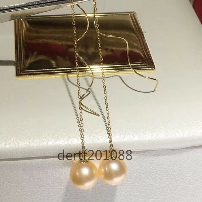 Natural AAAAA 8-9mm South Sea gold Pearl Earrings 18K gold