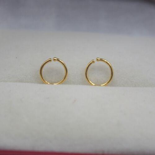 Real Pure 999 24k Yellow Gold Hoop Women/'s Good Luck Little Earrings 0.5g