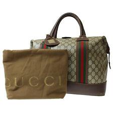 GUCCI GG Supreme Vintage Web Boston Hand Bag Brown PVC Leather Authentic #9152 W