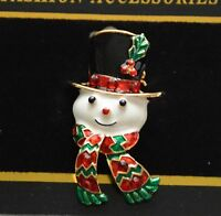Snowman W Red & Green Scarf / Pin &/or Pendent / Gold-tone Christmas Pin
