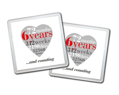 2 X 6th Wedding Anniversary 6 Years Drinks Coasters Anniversary Gift For Couple