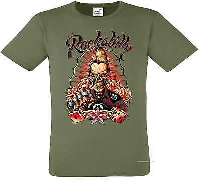 T Shirt oliv Greaser Rockebilly Tattoo & Gothikmotiv Modell Rockabilly