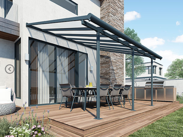 Palram Pergola Patio Cover Feria 3 x 4 25m with Robust Structure - White