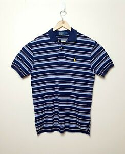 Polo-Ralph-Lauren-Mens-L-Striped-Blue-red-white-collared-polo-T-shirt-Tee-Shirt