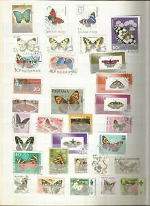 Papillons-butterfly-Mariposa-LOT-TIMBRES-SELLOS-Stamps-Timbres