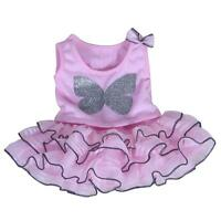 8 Pink Butterfly Sparkle Top & Tutu Teddy Clothes Fits 8-10(25cm) Teddy Bears