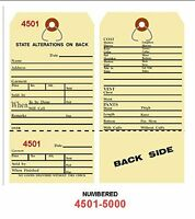 Alteration Tags 6-1/4 X 3-1/8 2-sided Manila With Button Slot Numbered4501-5000