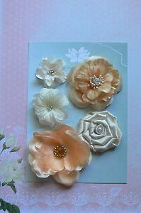 IVORY-APRICOT-5-Flower-Mix-Designs-SATIN-SILK-3-Leaves-35-75mm-Green-Tara-D