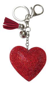 Bijoux-de-sac-porte-cles-coeur-strass-cristal-rouge-pompon-rouge