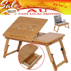 Image Is Loading AU Folding Wood Bamboo Laptop Table Desk Notebook