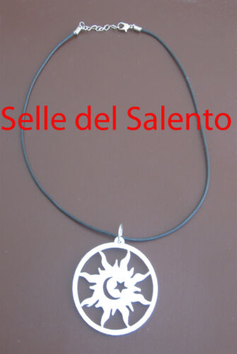 Collana caucciu ciondolo simbolo sole luna Collanina girocola