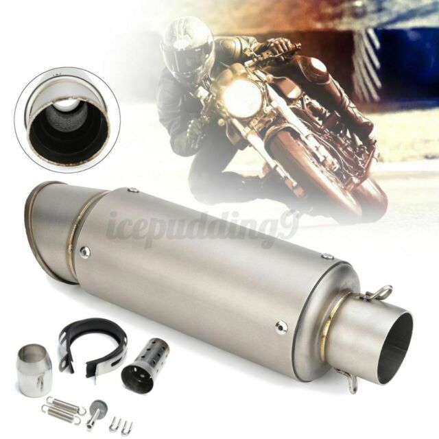 🔥 38-51mm Universal Motorcycle Exhaust Muffler Pipe W/ Silencer Stainless steel