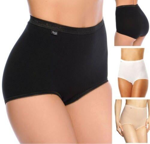 Sloggi Basique+Maxi 2P Pack 2 Taille Haute Slip Moulant Contrôle Noir Blanc