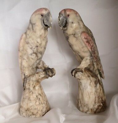 Large pair of early 20th Century carved alabaster parrots - probably Italian