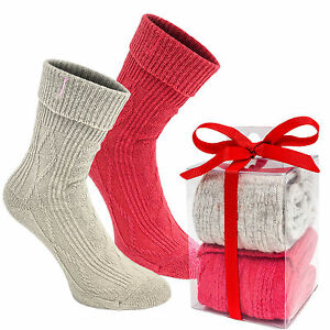 BRUBAKER-Womens-Ladies-Cozy-Knit-Boot-Socks-039-Cashmere-Touch-039-Gift-Set-2-Pack