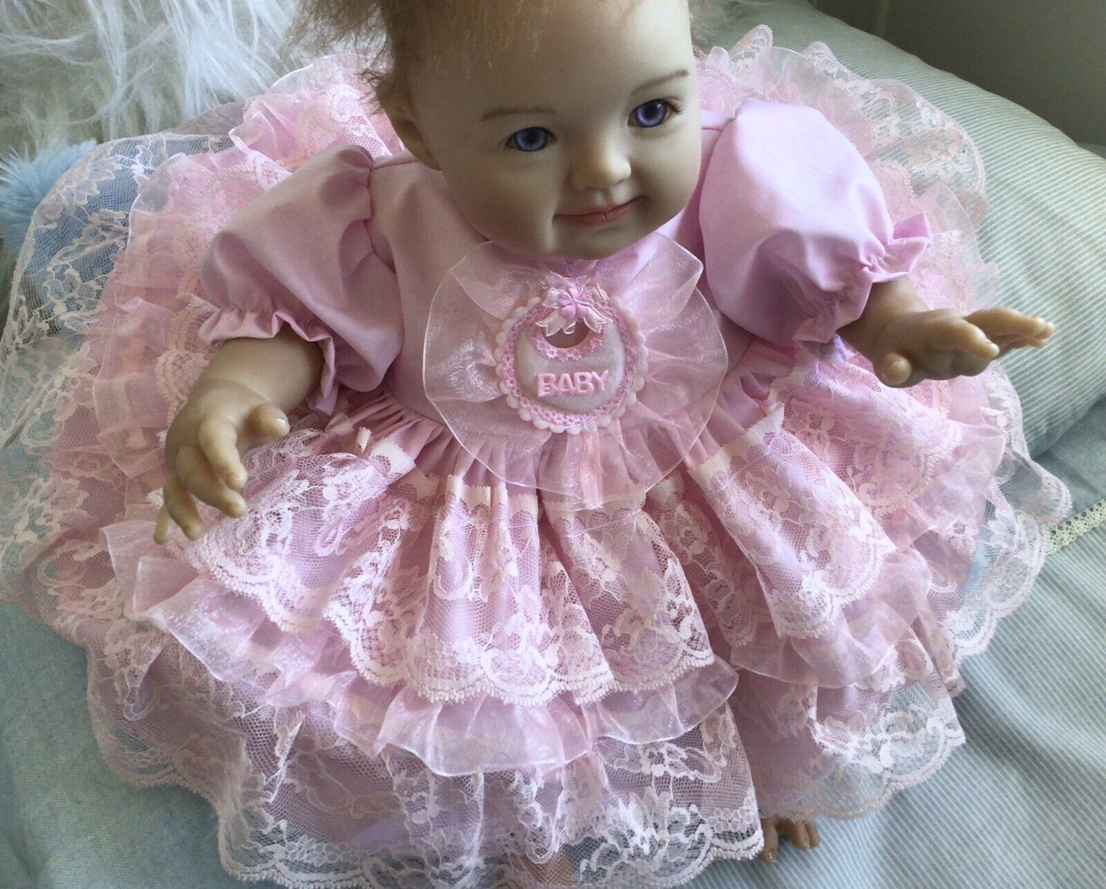 """BAby 0-3mths /REBORN 16"""" Two piece Pink Lace with chiffon ribbon dress set"""
