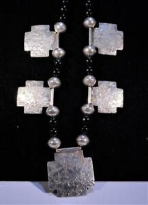 """Jan Loco Apache """"Spirit of The Rock"""" Sterling Silver & Black Onyx Necklace"""