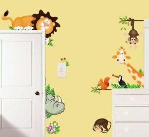 Kinder-Tierwelt-Tiere-Wandsticker-Wandtattoo-Aufkleber-Giraffe-Affe-Wand-Tattoo