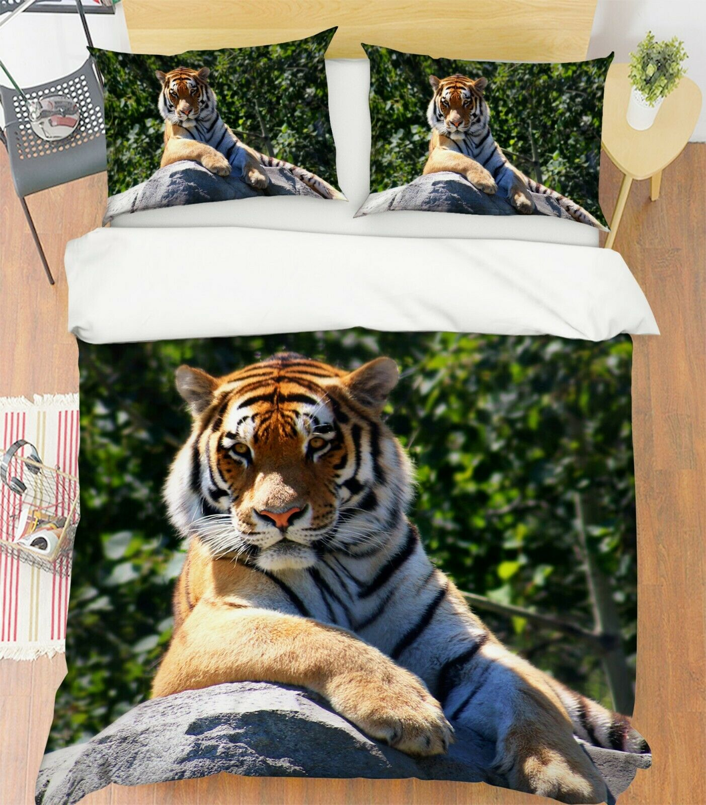 3D Forest Stone Tiger P07 Animal Bed Pillowcases Quilt Duvet Cover Set Queen Zoe