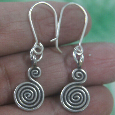 Coil Karen Hill tribe Handmade Earrings Pure Silver Gift silver Thailand