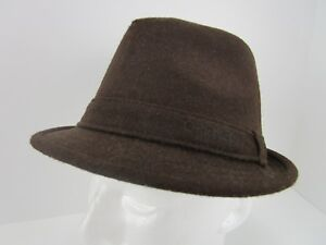 13343a62997 Image is loading Daniel-Cremeux-Wool-Blend-Brown-Fedora-Hat-Size-