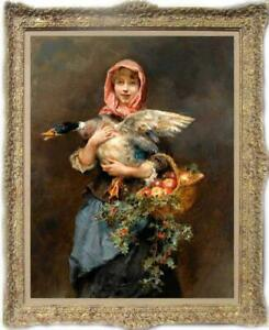 """Hand painted Old Master-Art Antique Oil Painting woman duck on canvas 24""""x36"""""""