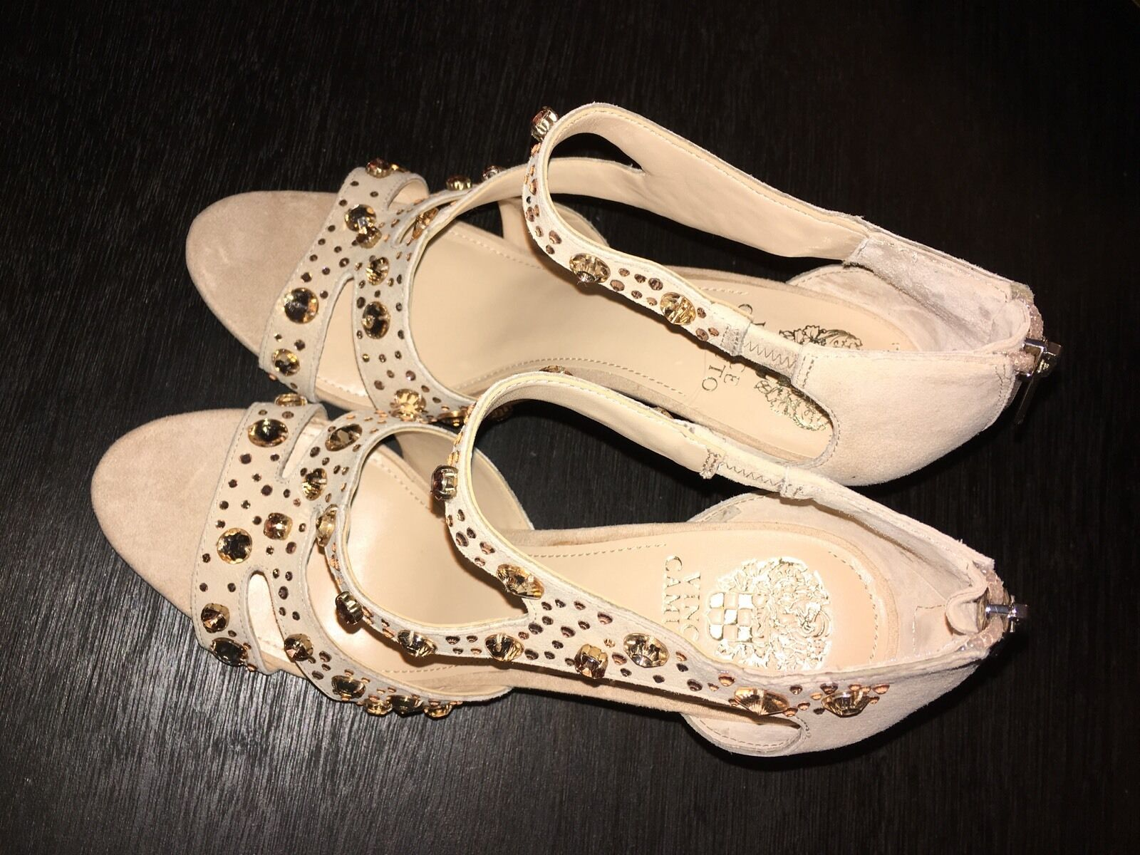NEW VINCE CAMUTO KAYANNE PETAL SUEDE JEWELED DRESS SANDALS 10 10 10 M e6207a