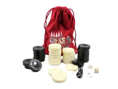 BACKGAMMON PIECES//CHECKERS ACRYLIC BRAND NEW WITH 4 DICES /& DOUBLING DICE 35mm