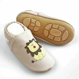 Liya's Babyschuhe Hausschuhe Lederpuschen - #603 Löwe in beige