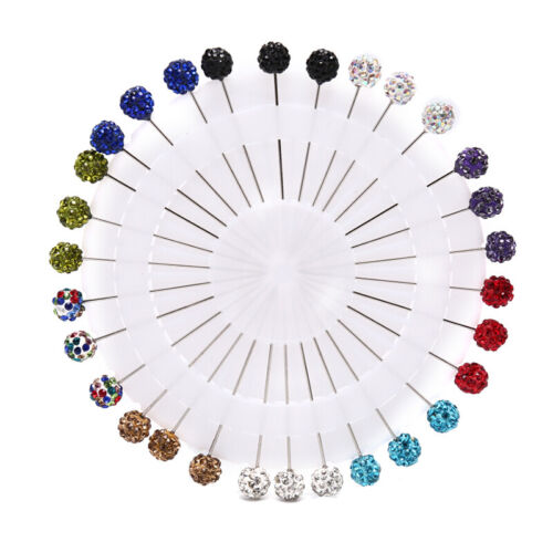 30Pcs Colorful Wheel Ball Hijab Scarf Pin Snag-Free Long Sparkle Muslim Brooc/_B1