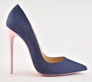 99f30555333d Christian Louboutin So Kate 120 Blue Denim Pink Patent Leather Heel ...