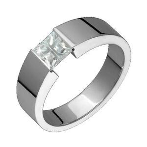 Mens Titanium Ring With White Cubic Zirconia Engagement Wedding Band EBay