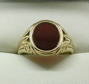 1960-039-s-Gents-Superb-Quality-Heavy-9-Carat-Gold-And-Carnelian-Agate-Signet-Ring