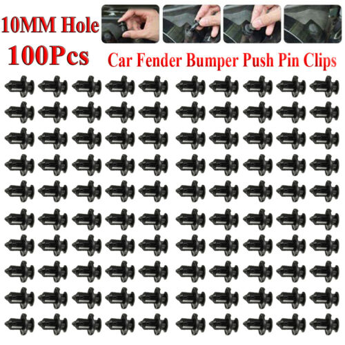 100Pcs//Set Plastic Rivet Car Fender Bumper Push Pin Clips 10mm Hole For Honda