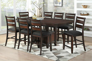 Counter Height Dining Table 8 Side Chairs Wooden 9p Set Brown Color Fabric Chair 610696575562 Ebay