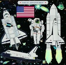 "6/"" x 6/"" ~ Space Shuttle USA Galaxy Flag Astronaut Grossman Sticker SALE ~"