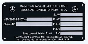 Plaque constructeur Mercedes