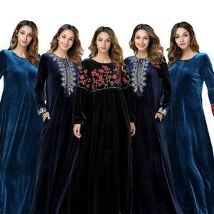 Muslim-Women-Embroidery-Velvet-Maxi-Dress-Dubai-Abaya-Islamic-Kaftan-Jilbab-Robe